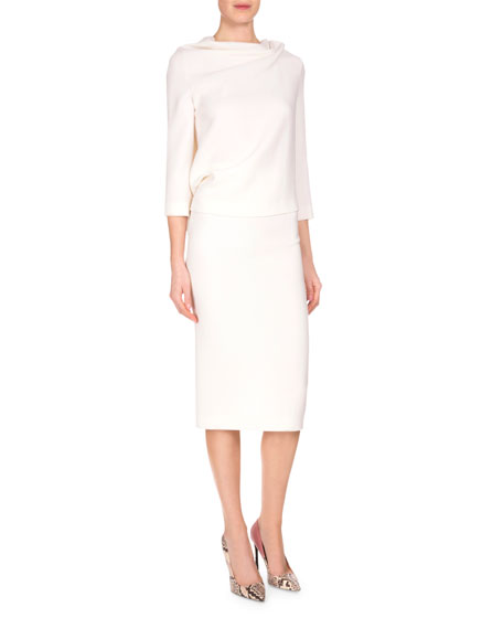 roland mouret arreton fitted pencil skirt white