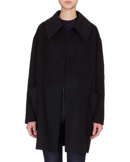 Victoria Beckham Open-Front Cashmere Swing Jacket, Black/Navy