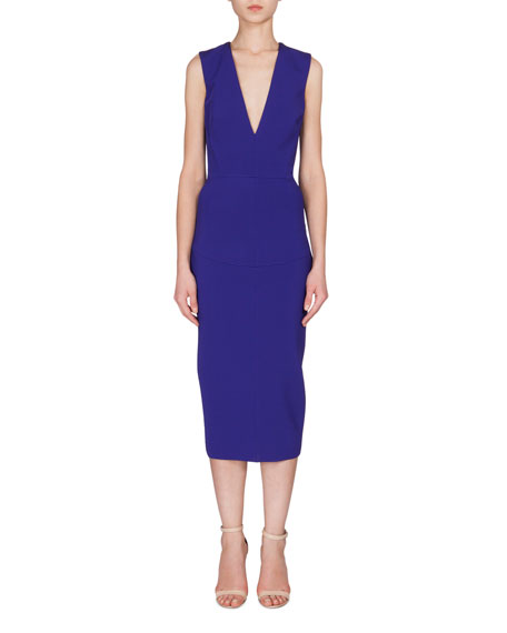 Victoria Beckham Sleeveless V-Neck Midi Dress, Cobalt Blue