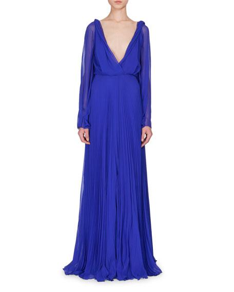 Victoria Beckham Long-Sleeve Plunging-Neck Gown, Cobalt Blue