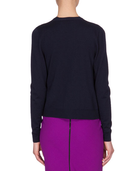 Button-Front Cashmere Cardigan, Navy
