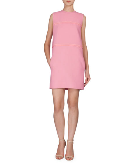 Victoria Victoria Beckham Sleeveless Shift Dress W/Pockets, Pink
