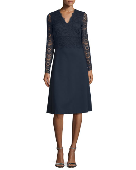 Escada Long-Sleeve Combo Dress, Midnight Blue