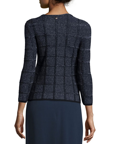 3/4-Sleeve Embellished Pullover Top, Midnight Blue