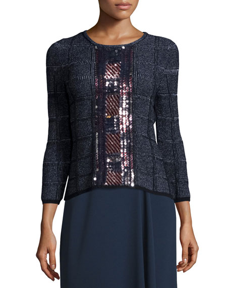 Escada 3/4-Sleeve Embellished Pullover Top, Midnight Blue