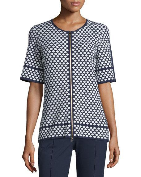 Escada Short-Sleeve Honeycomb-Print Cardigan, Midnight Blue