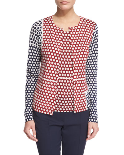 Button-Front Honeycomb Colorblock Cardigan, Multi Colors