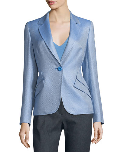 Double Flap-Pocket One-Button Blazer, Blue