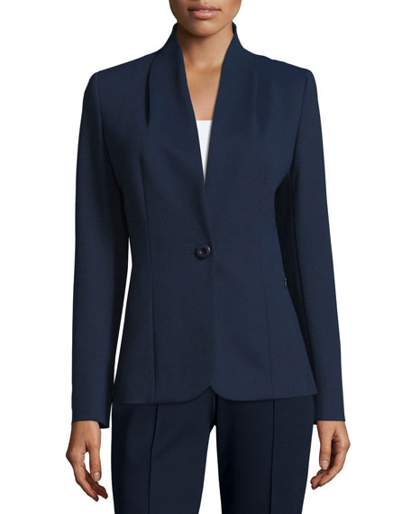 Escada Collarless One-Button Jacket, Midnight Blue