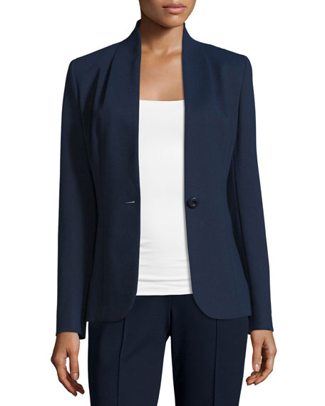 Collarless One-Button Jacket, Midnight Blue
