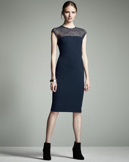 Honeycomb-Top Jersey Sheath Dress, Midnight Blue