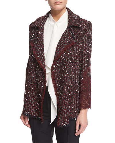 Open-Front Paillette & Lace Jacket, Marsala Best Reviews