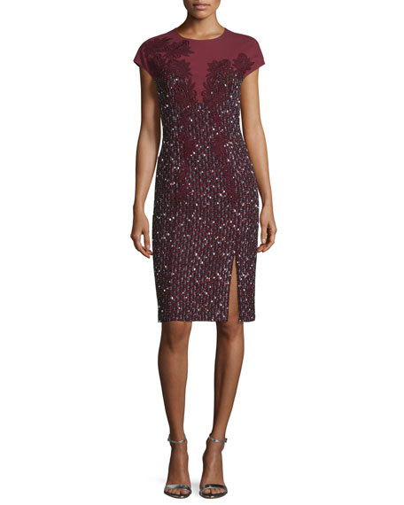 Escada Cap-Sleeve Paillette Sheath Dress, Marsala