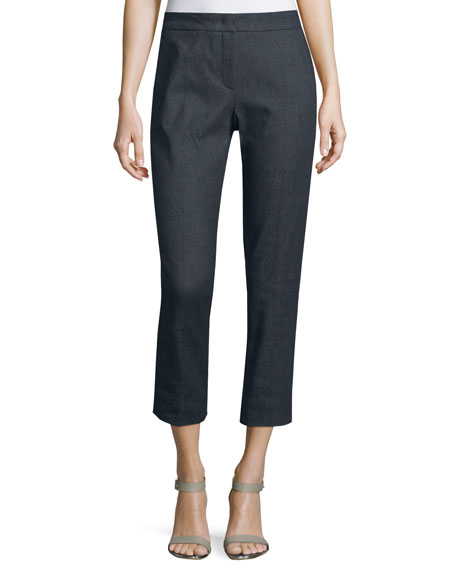 Escada Taren Slim-Leg Cropped Trouser Jeans, Midnight Blue
