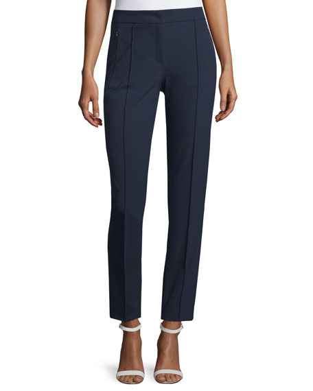 Escada Tusko Straight-Leg Ankle Pants, Midnight
