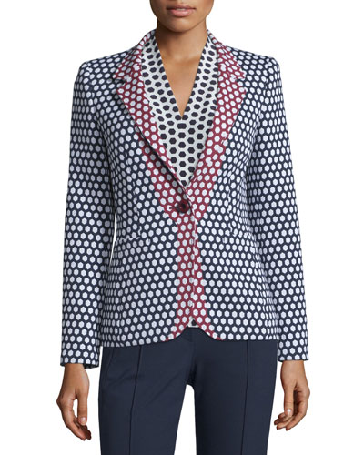 Honeycomb-Print One-Button Jacket, Midnight Blue