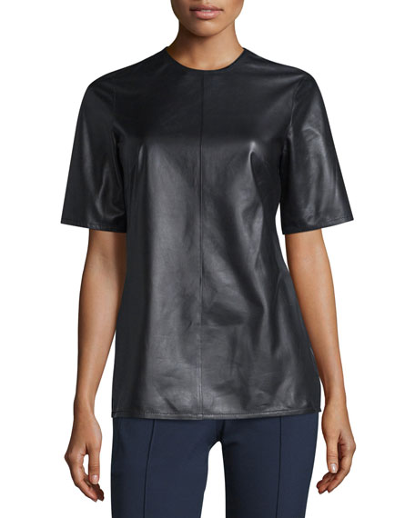 Escada Leather Top W/Back Tie, Black