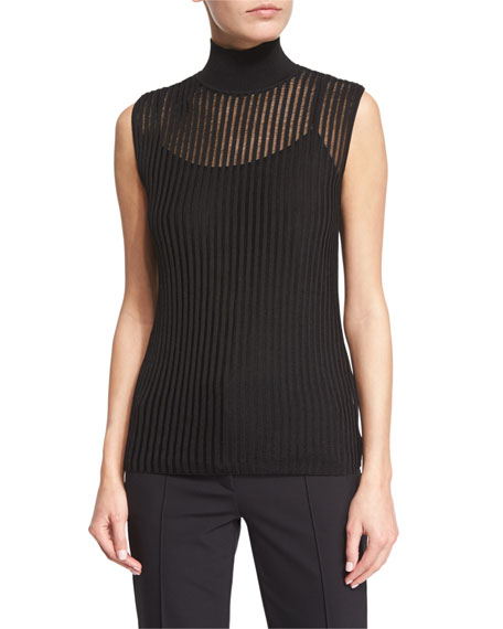 Escada Sleeveless Mock-Neck Pullover Top W/Camisole, Black