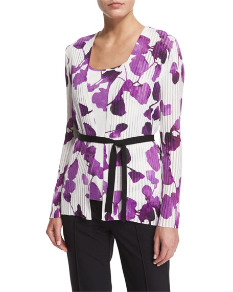 Escada Long-Sleeve Orchid-Print Belted Cardigan, Short-Sleeve