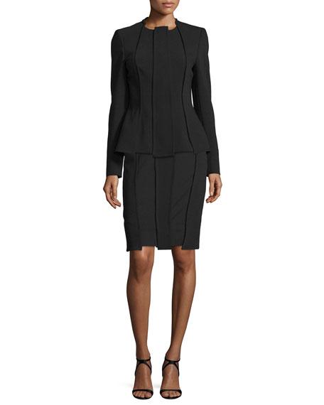 Stretch-Wool Carwash Pencil Skirt, Black
