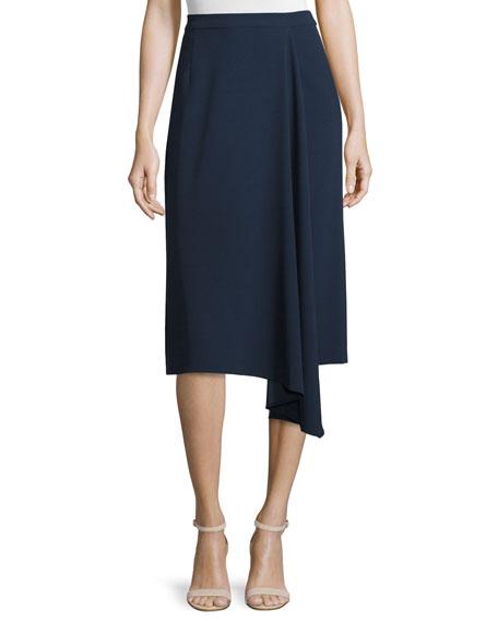 Escada Asymmetric Faux-Wrap Skirt, Midnight Blue