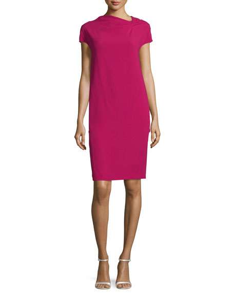Escada Cap-Sleeve Back-Drape Dress, Fuchsia