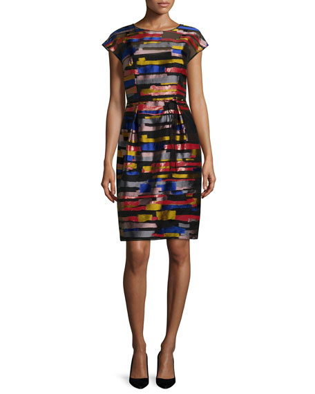 Escada Cap-Sleeve Brushstroke-Print Dress, Multi Colors