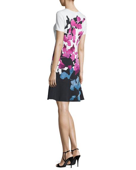 Escada Short-Sleeve Orchid-Print Colorblock Dress, Multi ...