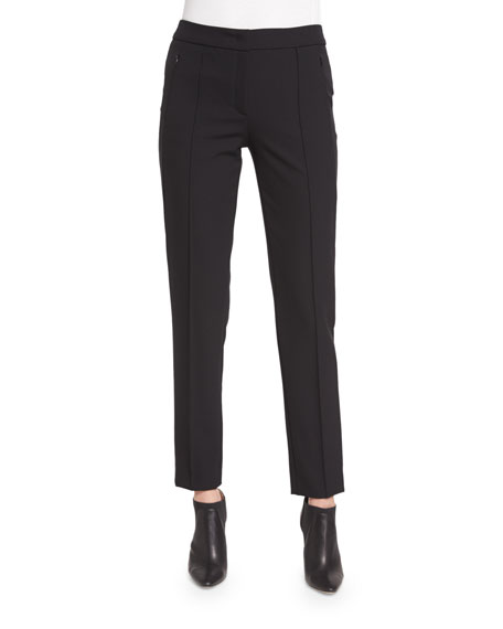 EscadaTusko Straight-Leg Ankle Pants, Black