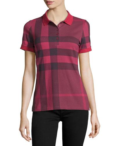 Check Short-Sleeve Polo Shirt, Peony Rose
