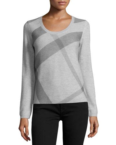 Scoop-Neck Check Sweater, Light Gray Melange