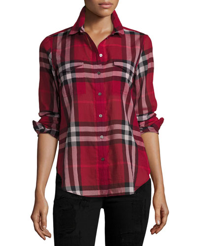 Long-Sleeve Cotton Check Shirt, Poppy Red