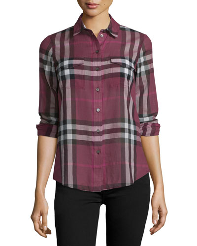 Long-Sleeve Check Shirt, Magenta