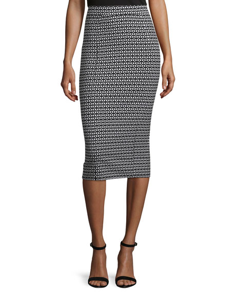 Lela Rose Danielle Geometric-Print Pencil Skirt, Black/Ivory