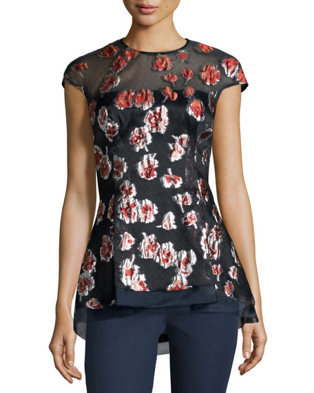 Lela Rose Cap-Sleeve Raised-Floral Peplum Blouse, Cranberry