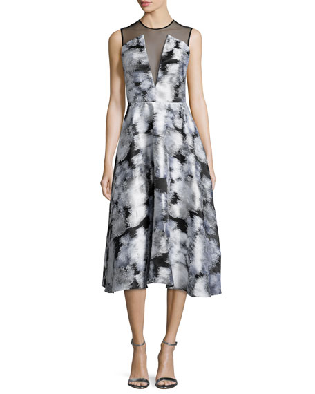 Lela Rose Sleeveless Ikat Midi Dress, Ivory/Multi