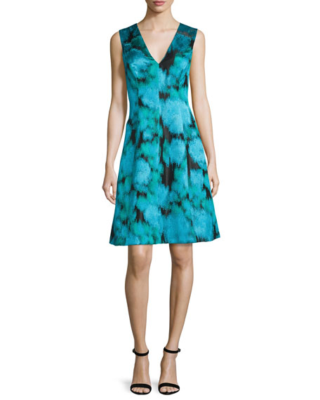 Lela Rose Sleeveless V-Neck Ikat Dress, Green/Multi