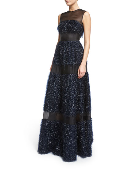 Lela Rose Sleeveless Metallic Chevron-Fringe Gown, Navy