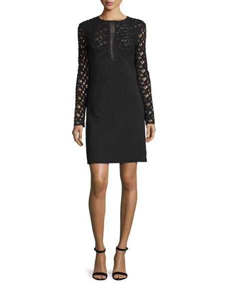 Lela Rose Long-Sleeve Lace-Inset Tunic Dress, Black