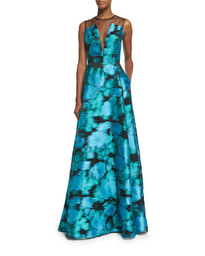 Sleeveless Mesh-Inset Ikat Gown, Green/Multi