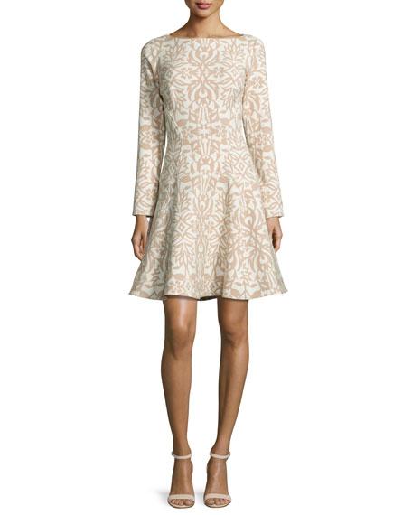 Lela Rose Long-Sleeve Ornamental Fit-&-Flare Dress, Tan/Ivory