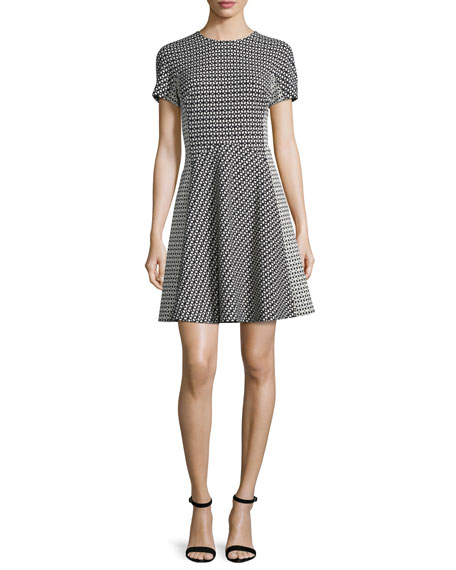 Lela Rose Short-Sleeve Geometric-Print Dress, Black/Ivory