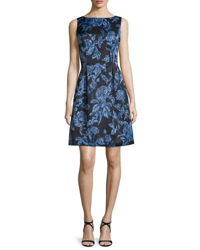 Betsy Full-Skirt Sheath Dress, Blue