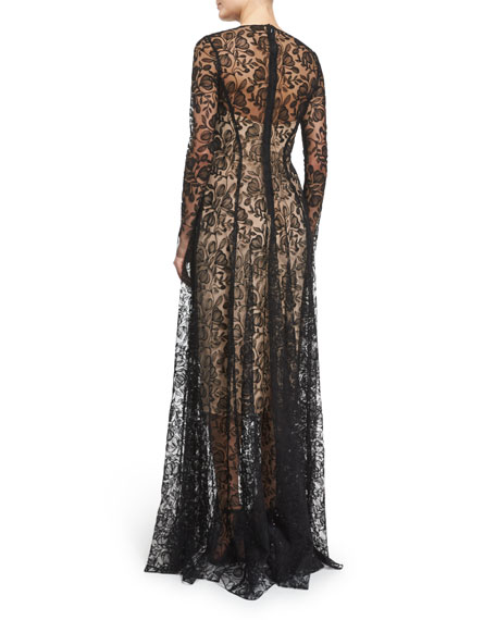 Long-Sleeve Floral-Lace Gown, Black