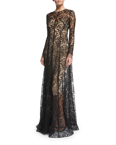 Lela Rose Long-Sleeve Floral-Lace Gown, Black