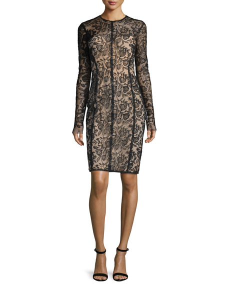 Lela Rose Long-Sleeve Lace Sheath Dress, Black