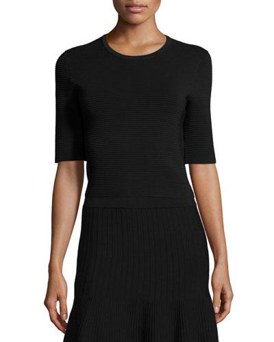 Half-Sleeve Round-Neck Ribbed Top, Black