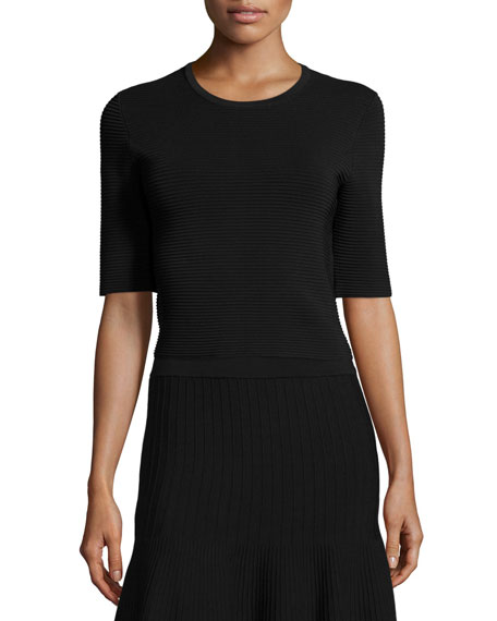 Lela Rose Half-Sleeve Round-Neck Ribbed Top, Black