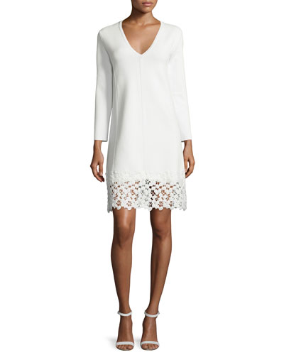 Long-Sleeve Lace-Hem Knit Dress, White