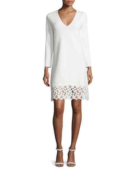 Lela Rose Long-Sleeve Lace-Hem Knit Dress, White